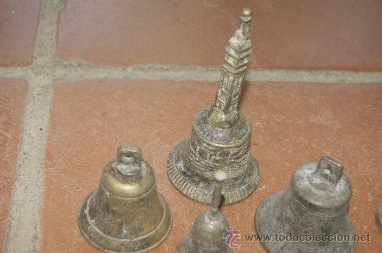 Antigüedades: Gran lote de 8 campana muy antiguas de bronce, a identificar - Foto 2 - 38584622
