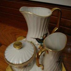 Antigüedades: JUEGO DE TE CAFÉ PORCELANA LIMOGES ANTIGUA. 3 PIEZAS Y BANDEJA. Lote 38664895