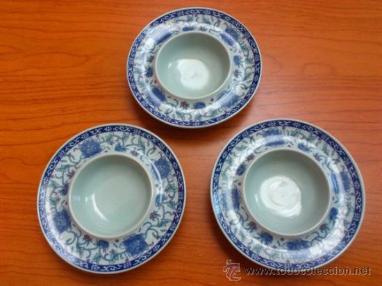 Antigüedades: Lote de tres cuencos o platitos orientales estilo celadon - Foto 11 - 38625625