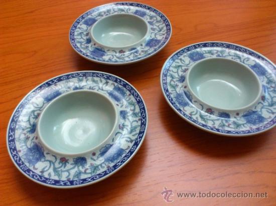 Antigüedades: Lote de tres cuencos o platitos orientales estilo celadon - Foto 10 - 38625625
