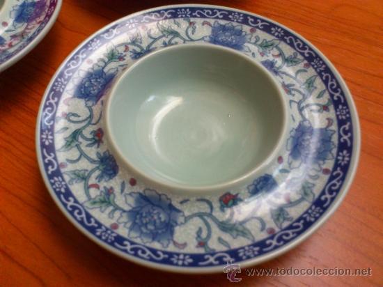 Antigüedades: Lote de tres cuencos o platitos orientales estilo celadon - Foto 8 - 38625625