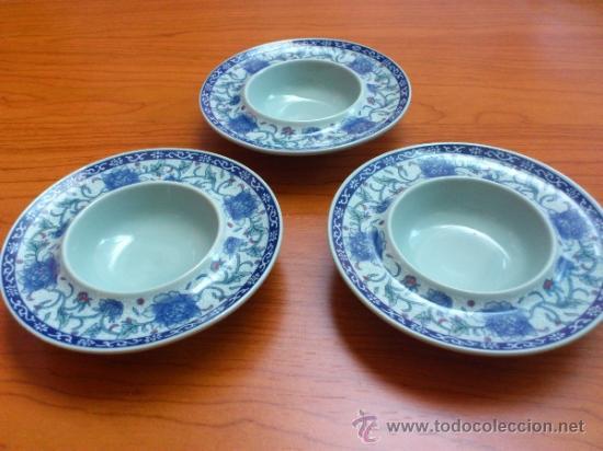 Antigüedades: Lote de tres cuencos o platitos orientales estilo celadon - Foto 9 - 38625625