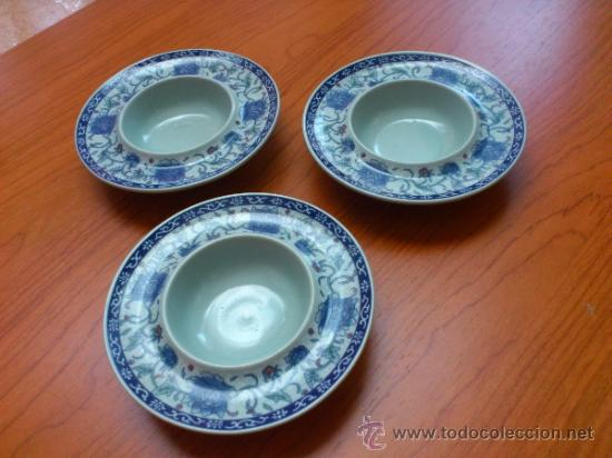 Antigüedades: Lote de tres cuencos o platitos orientales estilo celadon - Foto 7 - 38625625