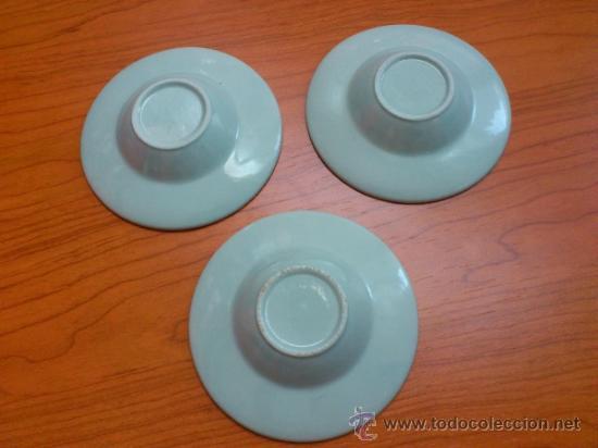 Antigüedades: Lote de tres cuencos o platitos orientales estilo celadon - Foto 6 - 38625625