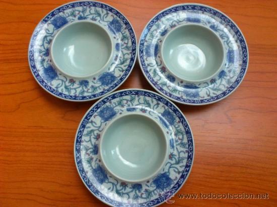 Antigüedades: Lote de tres cuencos o platitos orientales estilo celadon - Foto 2 - 38625625