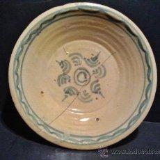 Antigüedades: TALAVERA. PLATO DEL S. XVIII CON BORDE Y CENTRO DECORADO EN AZUL.. Lote 38627905
