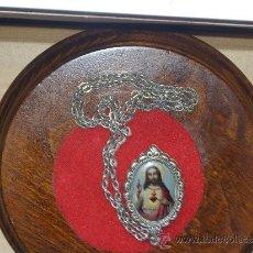 Antigüedades: ESCAPULARIO, RELICARIO SAGRADO CORAZON DE JESUS Y VIRGEN.. Lote 38642430