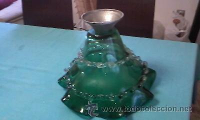 Antigüedades: Exquisito centro de mesa en cristal de murano verde botella con adornos de cristal transparente . - Foto 8 - 38668146