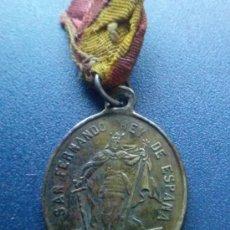 Antigüedades: MEDALLA DEL SIGLO XVIII O XIX DE SAN FERNANDO Y LA VIRGEN DE LOS REYES PATRON Y PATRONA DE SEVILLA . Lote 38681707