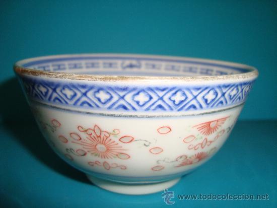 CUENCO DE PORCELANA CHINA FONDO BLANCO, SELLO AZUL EN LA BASE (Antigüedades - Porcelanas y Cerámicas - China)