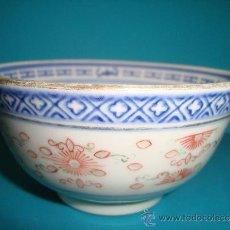 Antigüedades: CUENCO DE PORCELANA CHINA FONDO BLANCO, SELLO AZUL EN LA BASE. Lote 38691348