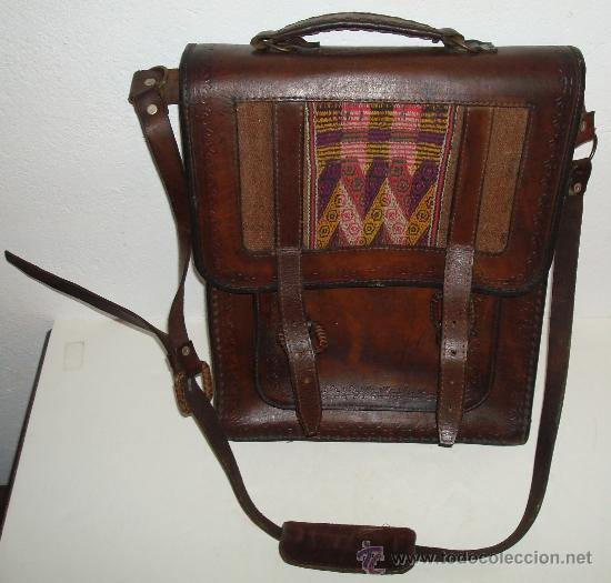 BOLSO DE PIEL AÑOS 70 (Antigüedades - Moda - Bolsos Antiguos)
