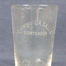 Antigüedades: VASO VIDRIO SOPLADO EN MOLDE GRABADO AL ÁCIDO COLEGIO LA SALLE SANTANDER. Lote 38720593