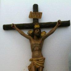 Antigüedades: GRAN CRUCIFIJO PARED. OLOT . TALLA DE ALTA CALIDAD ARTISTICA. Lote 38717561