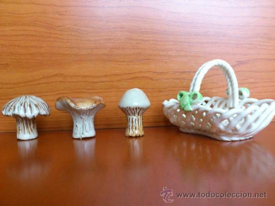 Antigüedades: Cesta con setas en ceramica vidriada, hechas y pintadas a mano - Foto 7 - 38734326