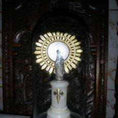 Antigüedades: VIRGEN DEL PILAR EN FANAL DE CRISTAL. Lote 38788840