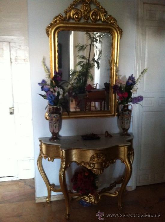Mueble recibidor y espejo dorado antiguo mesa comprar for Mueble recibidor madera