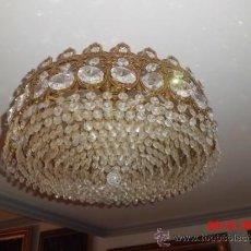 Antigüedades: LAMPARA DE TECHO DE CRISTAL ROCA. Lote 38792644