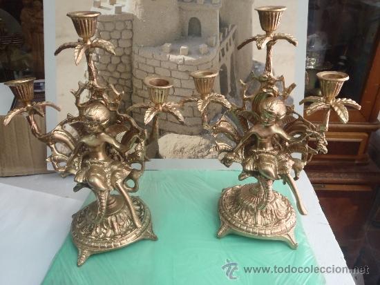 Antigüedades: CANDELABROS DE BRONCE PESO 3 KILOS 650 GRAMOS - Foto 2 - 35541980