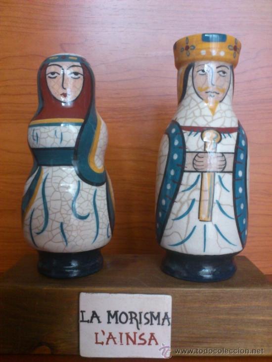 Antigüedades: Pareja de reyes medievales en terracota de esmalte vidriado sobre peana de madera ( La Morisma ) - Foto 2 - 38813625