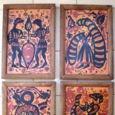Antigüedades: CUATRO BONITOS AZULEGOS ENMARCADOS PINTADOS AL ESTILO PICASSO IDEAL DECORACION CASA RUSTICA. Lote 38821402
