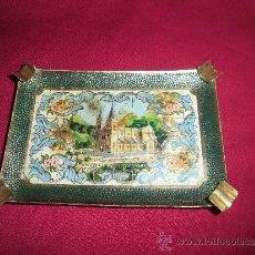 Antigüedades: ANTIGUO CENICERO ESMALTADO RECUERDO DE COVADONGA . Lote 38834033