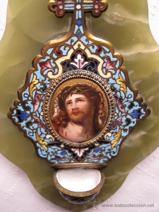 Antigüedades: BENDITERA CON PINTURA DE PORCELANAS Y ESMALTE CLOISONNE SOBRE ONIX VERDE - Foto 4 - 38833708