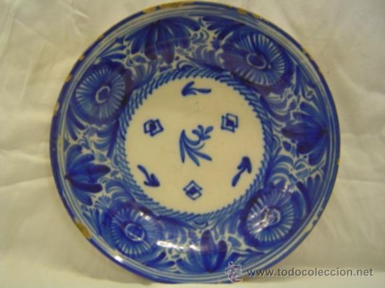 Plato ceramica manises color azul diametro 34 5 comprar botijos jarras nforas y otras - Platos ceramica colores ...