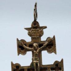Antigüedades: CRUZ DE CARAVACA EN BRONCE S XVIII. Lote 70656370