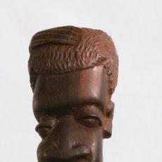 Antigüedades: BASTÓN ARTESANAL CON CABEZA DE HOMBRE AFICANO EN MADERA EXÓTICA - ¡PROMOCION 30% EN BASTONES!. Lote 38863593
