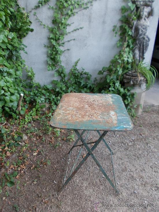 Antigüedades: restaurada. Mesa metálica. Hierro forjado. - Foto 3 - 38895841