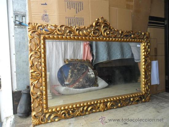 Espejo dorado grande comprar espejos antiguos en for Espejos ovalados grandes