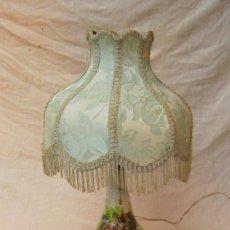 Antigüedades: LAMPARA DE SOBREMESA CON PIE DE CERAMICA Y BASE DE MARMOL. Lote 38930853