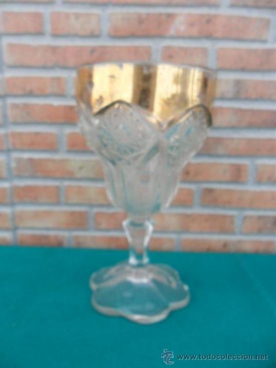 COPA GRANDE CON DORADO,CALIZ (Antigüedades - Hogar y Decoración - Copas Antiguas)