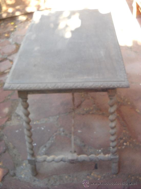 Antigüedades: Mesa con patas salomonicas por restaurar. 85x55x74 cm - Foto 2 - 38949904