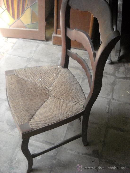 Antigüedades: silla isabelina de madera de caoba por restaurar. - Foto 2 - 38950089