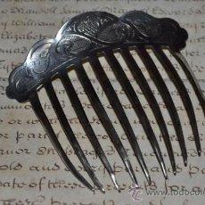 Antigüedades: PRECIOSA PEINA ,PEINETA DE PLATA DE LEY CINCELADA Y CONTRASTADA,S.XIX. Lote 38965783