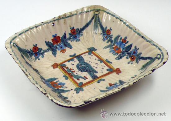 Antigüedades: Antiguo frutero de Ribesalbes o valenciano de cerámica, 23x23 cm. - Foto 8 - 38950967