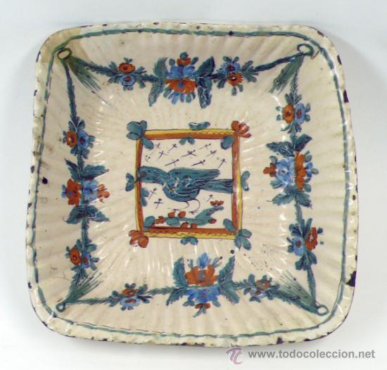 Antigüedades: Antiguo frutero de Ribesalbes o valenciano de cerámica, 23x23 cm. - Foto 7 - 38950967