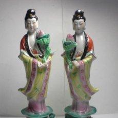 Antigüedades: ANTIGUA PAREJA DE FIGURAS DE PORCELANA CHINA. Lote 38976942