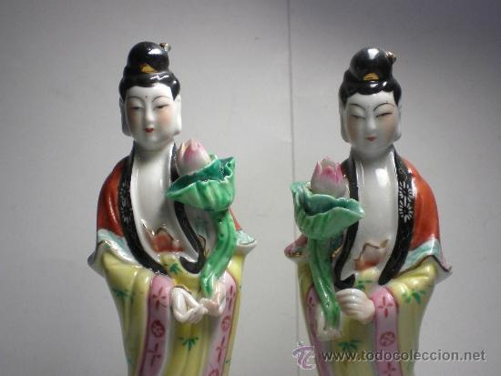 Antigüedades: Antigua Pareja de Figuras de Porcelana China - Foto 2 - 38976942