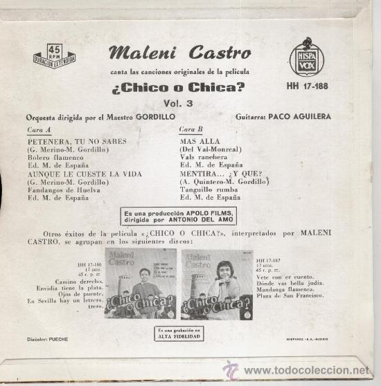 Discos de vinilo: MALENI CASTRO - DE LA PELICULA : ¿CHICO O CHICA ? - EP SPAIN 1962 VG++ / EX - Foto 2 - 38990529