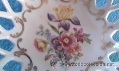 Antigüedades: Precioso cuenco bombonera porcelana calada . Marca P M MADE IN GDR. - Foto 2 - 39623077