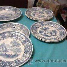 Antigüedades: JUEGO DE 6 PLATOS Y 1 FUENTE DE VILLEROY & BOCH BURGENLAND BLUE. MADE IN FRANCE SAAR. Lote 39011935