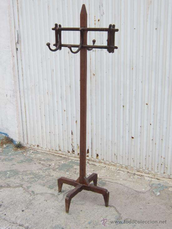 perchero antiguo de pie en madera - Comprar Muebles