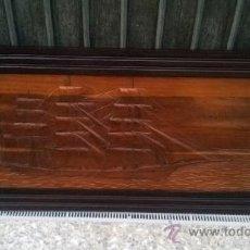 Antigüedades: CUADRO TALLADO DE BARCO LEER. Lote 39022585