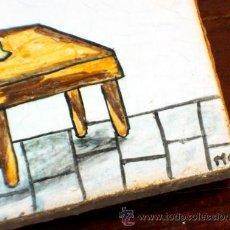 Antigüedades: ANTIGUO AZULEJO PINTADO A MANO. FIRMADO. COSTURERA. Lote 39031139