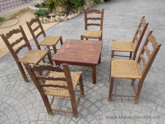 Antiguas sillas y mesa en madera de morera el vendido en venta directa 39050186 - Sillas de madera antiguas ...