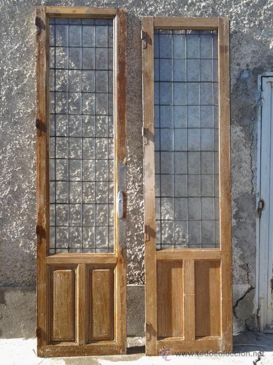 antigedades puertas similares entre s de cristal emplomado y madera de pino