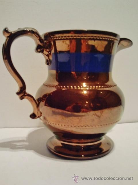 JARRA DE CERÁMICA ESMALTADA DE BRISTOL, S. XIX. DECORADA EN AZUL Y REFLEJO METÁLICO. (Antigüedades - Porcelanas y Cerámicas - Inglesa, Bristol y Otros)